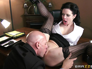 submissive brunette secretary see-though