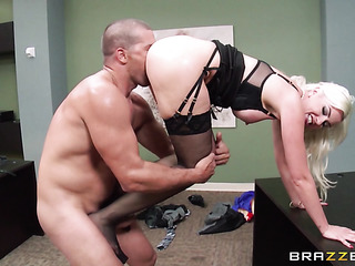 horny blonde office worker