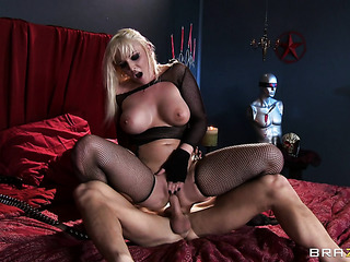 horny blonde with mesh