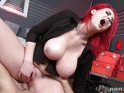 big tits worship, hardcore, redhead, thick