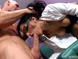 seductive brunette doctor wearing