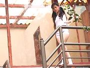alexa, panties, stairs, teen