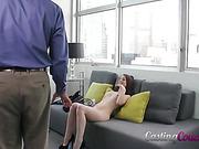 brunnette, casting, oral sex, pussy