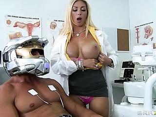 big-chested blonde dental assistant