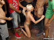 bar, blonde, busty, interracial