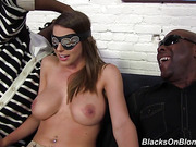 blindfolded, brunette, busty, interracial