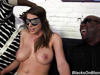 busty brunette gets blindfolded