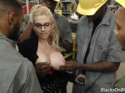 blonde, busty, interracial
