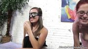 busty brunette blindfolded while