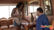 denim-clad ebony teen seduces