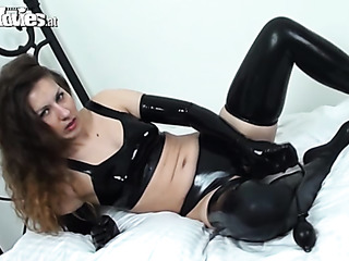 her crotchless latex panties