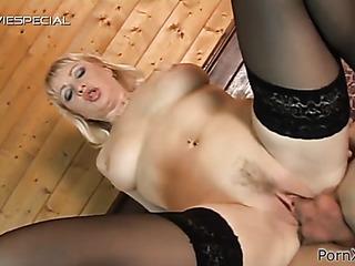 golden haired slut bends