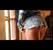 Beauty with round booty and very tight denim shorts
