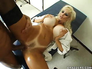 mature blonde doctor white