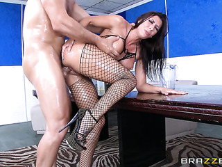 horny brunette with big