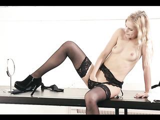 sweet blonde black stockings