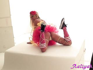 toned blonde pink posing