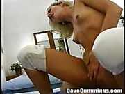 slender blonde giving head