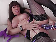 playmate tosses her purple