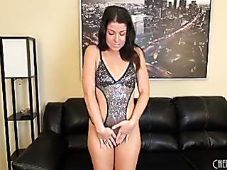 foxy brunette sheds her