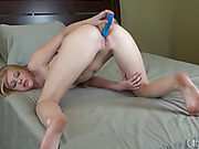 blonde uses vibrator bed