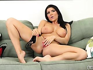 milf masturbates sofa after