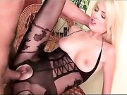 busty blonde black crotchless