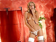 blonde, pantyhose, stockings, white