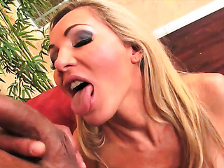 horny blonde takes her