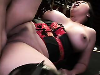 big asian chick lays