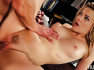 blonde coed spreads her