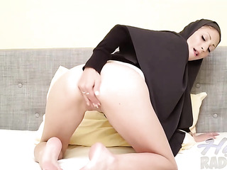 cute syrian chick bends