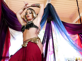 thick blonde belly dancer