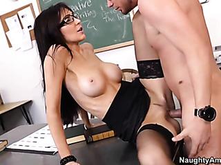 nerdy brunette teacher black