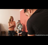 Peeping tom caught by blonde and takes a pounding in her room.