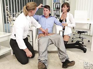 brunette office babe sucks