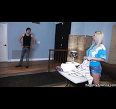 Guy fucks best friends mom with nice littlwe pussy on the couch.
