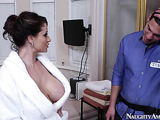 pretty chick bathrobe seduces