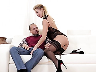 blonde chick stockings fucked