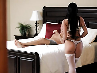 amazing brunette white stockings