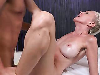 skinny blonde gets massage