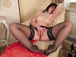 milf redhead black stockings