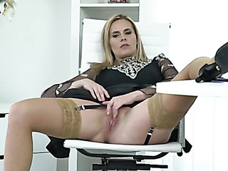 office babe sits chair