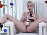 blonde, long legged, mature, vibrator