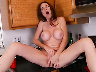 busty babe the kitchen