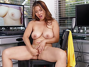 asian, mature, office, pussy