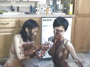 amateur, kitchen, lesbian, naked