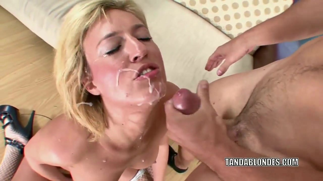 Blondes Screwing busty blonde is wearing sexy fishnets while screwing and