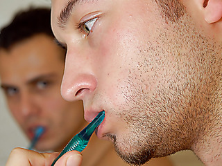 naked gay hunks brushing