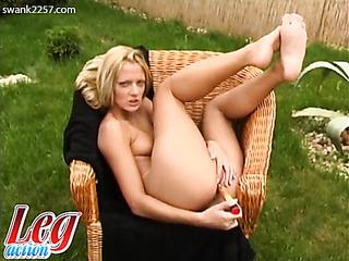 blonde cutie using golden